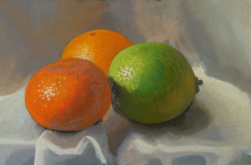 """Clementines and lime"" original fine art by Peter Orrock"
