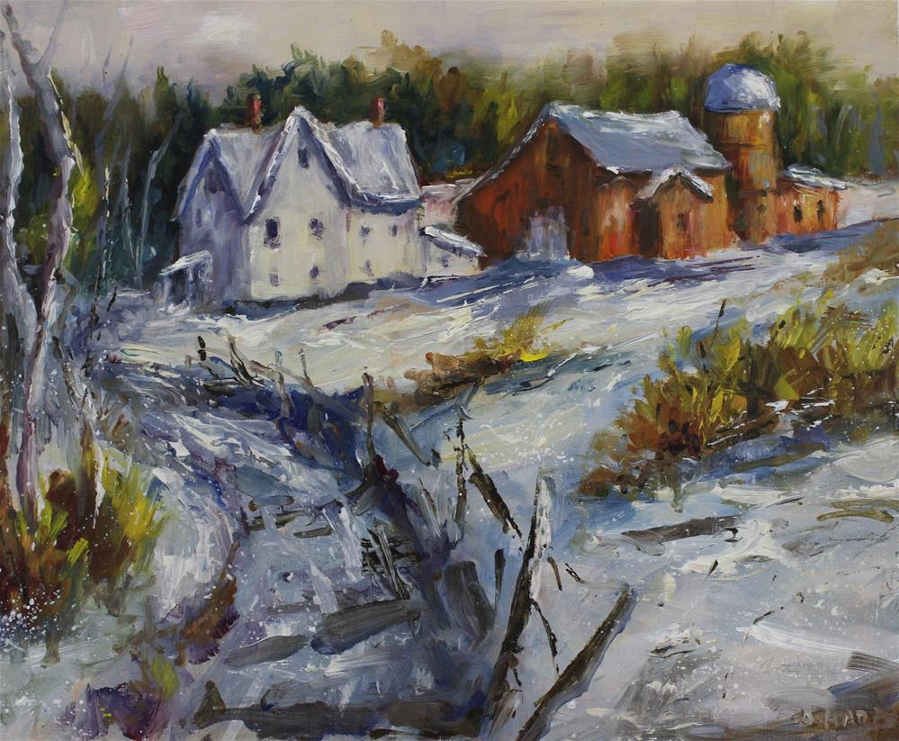 """Original Midwest Winter Snow Red Barn Landscape Oil Painting"" original fine art by Alice Harpel"