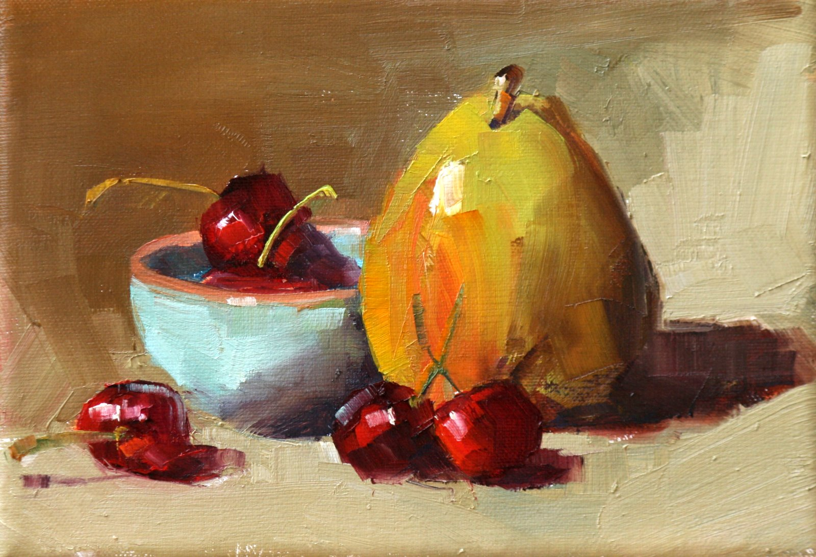 """bowl of cherries"" original fine art by Carol Carmichael"