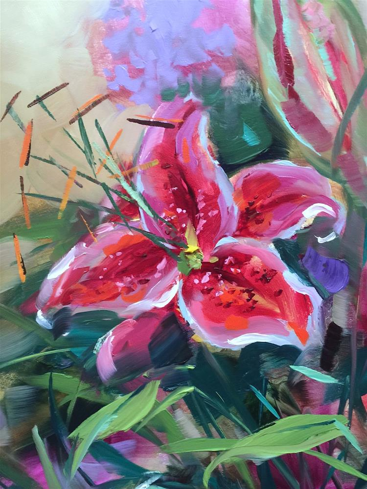 """Lily Love and Painting Brilliant Colors"" original fine art by Nancy Medina"