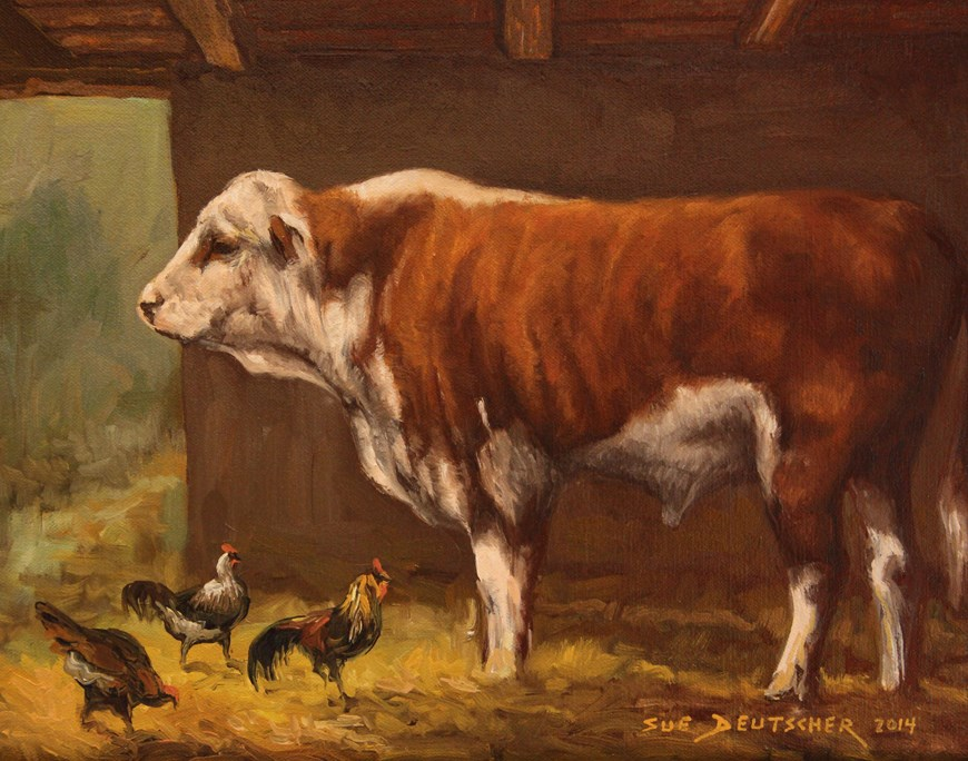 """Hereford Bull and Chickens"" original fine art by Sue Deutscher"