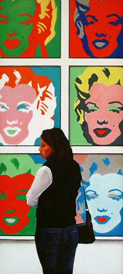 """Marilyn Female- painting of woman enjoying paintings of Marilyn Monroe by Andy Warhol in museum"" original fine art by Gerard Boersma"