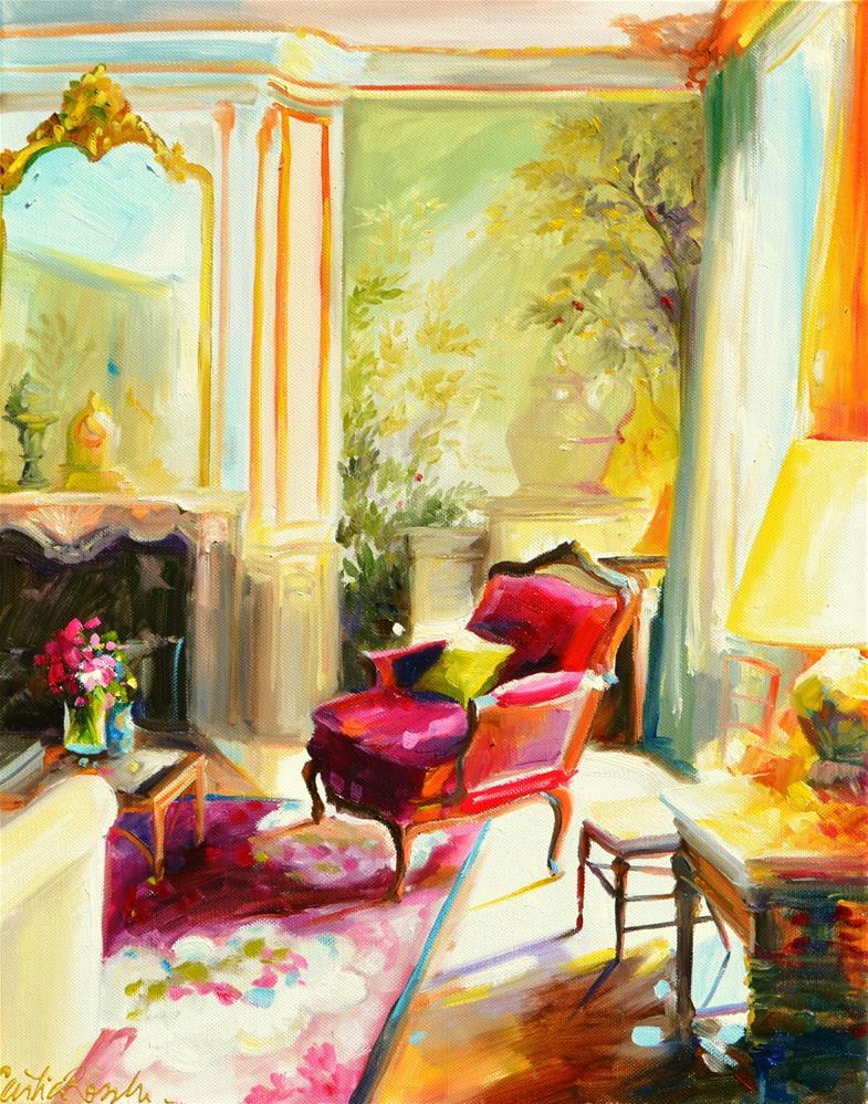 """ROOI FLUWEEL STOEL"" original fine art by Cecilia Rosslee"
