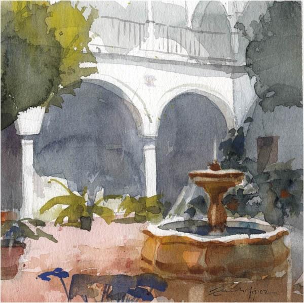 """patio 106"" original fine art by Emilio López"