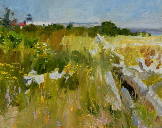 """Point No Point, Looking North  light house, landscape , oil painting by Robin Weiss"" original fine art by Robin Weiss"