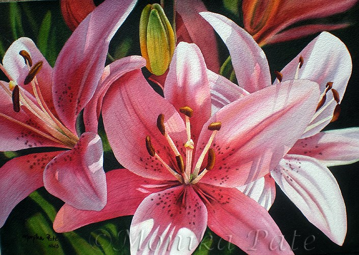"""Pink Lilies"" original fine art by Monika Pate"