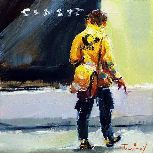 """Postman"" original fine art by Jurij Frey"