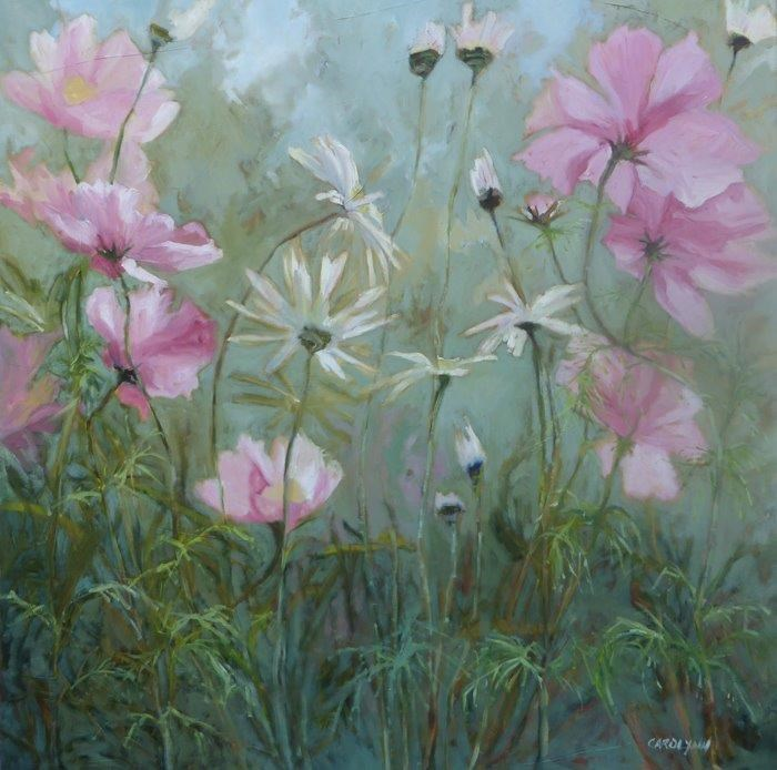 """Cosmos and Daisies"" original fine art by Carolynn Doan"