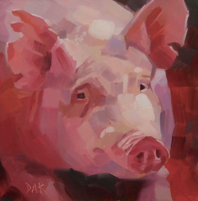 """""""This Little Pig"""" original fine art by Deborah Ann Kirkeeide"""