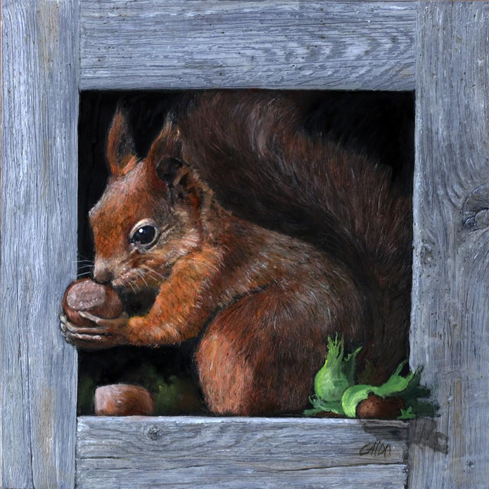 """""""Red squirrel"""" original fine art by Arthur Gaida"""