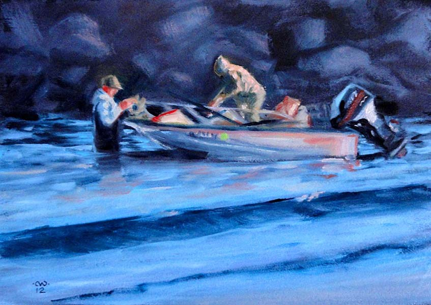 """""""End of A day's Fishing"""" original fine art by Cietha Wilson"""