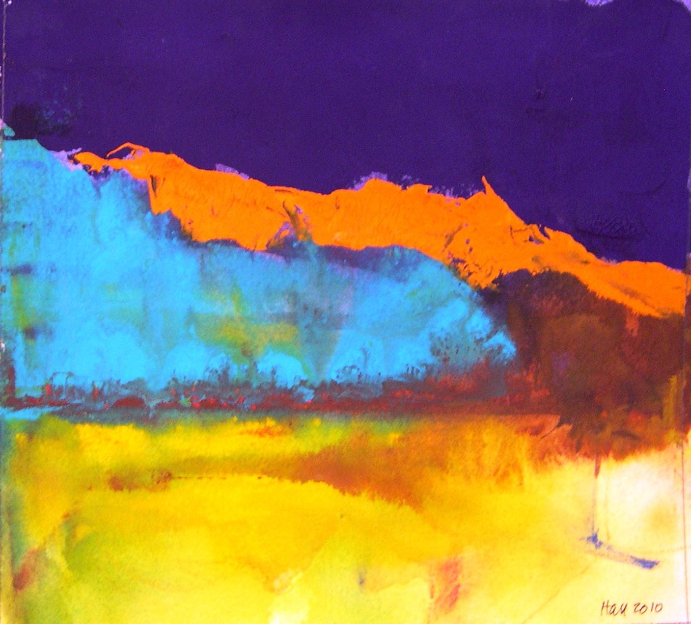 """Purple Sky Orange Mountains"" original fine art by Nancy Hall"
