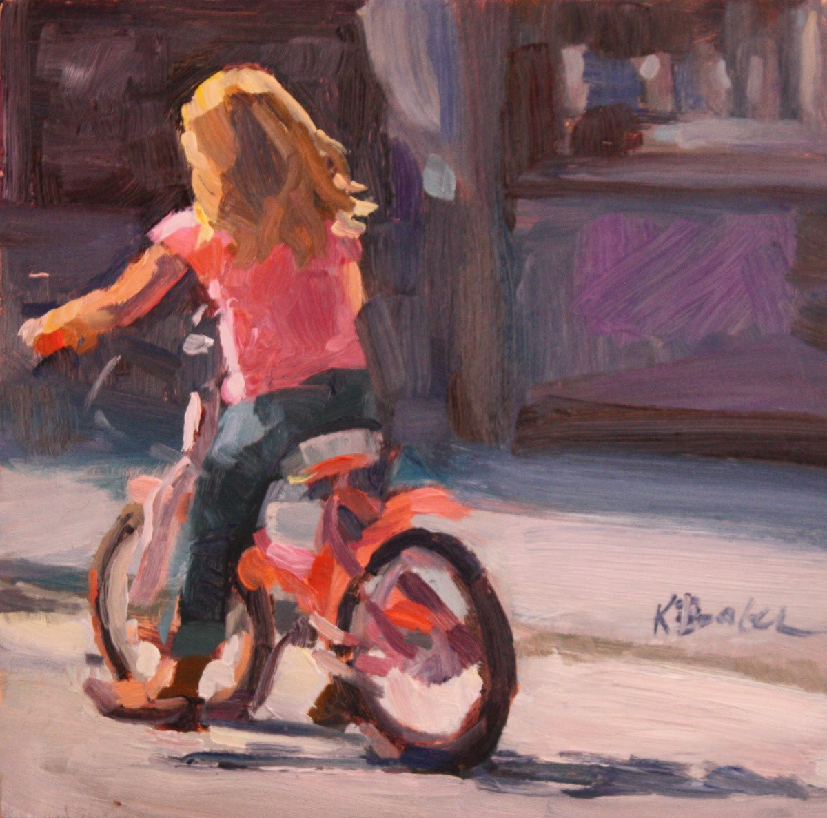 """Pink Bike"" original fine art by Kaethe Bealer"