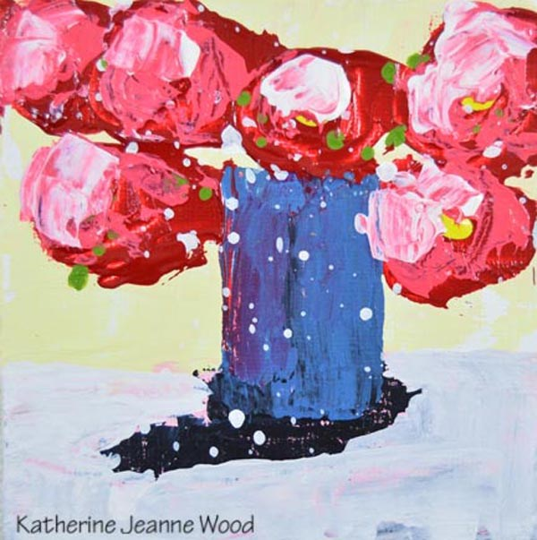 """""""Pink and blue cottage chic floral painting No 157"""" original fine art by Katie Jeanne Wood"""