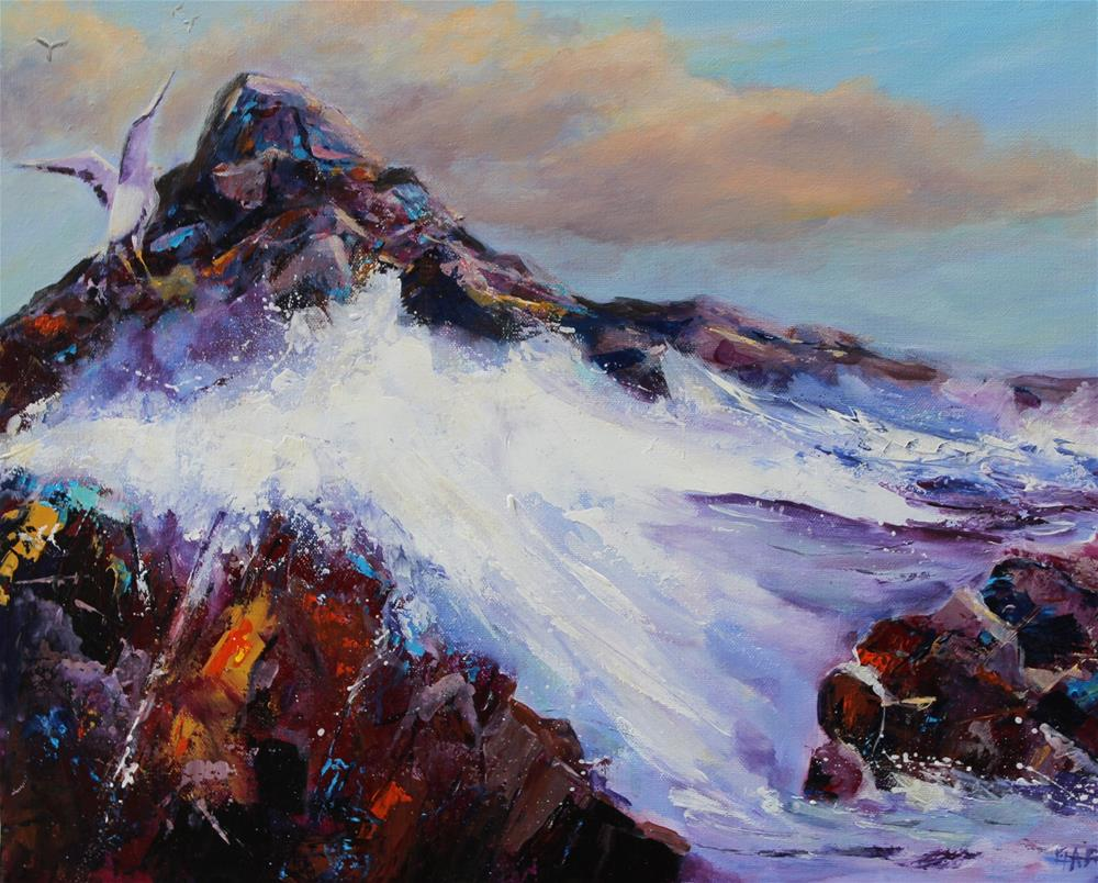 """Original seascape ocean seagull rocky coast acrylic painting"" original fine art by Alice Harpel"