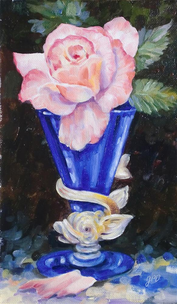 """Dolphin Venetian vase with rose"" original fine art by Jean Pierre DeBernay"