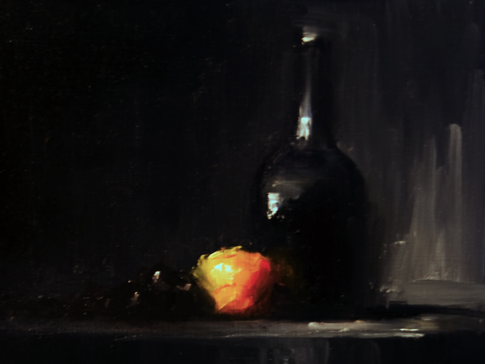 """Bottle, Clementine and Grapes"" original fine art by Neil Carroll"