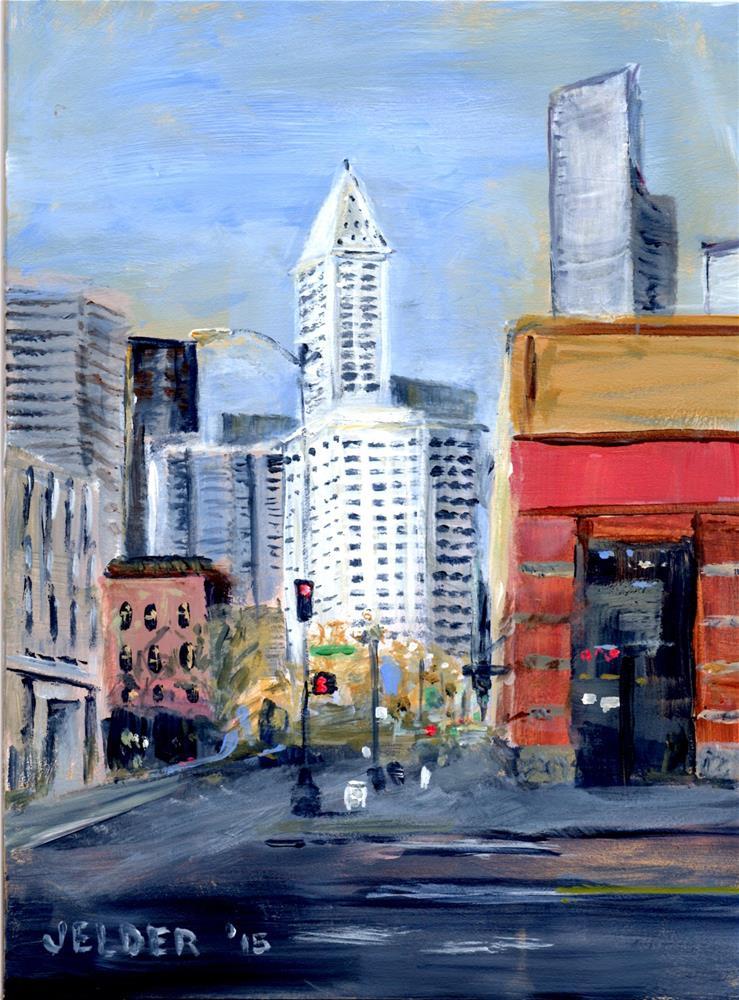 """""""Smith Tower"""" original fine art by Judith Elder"""