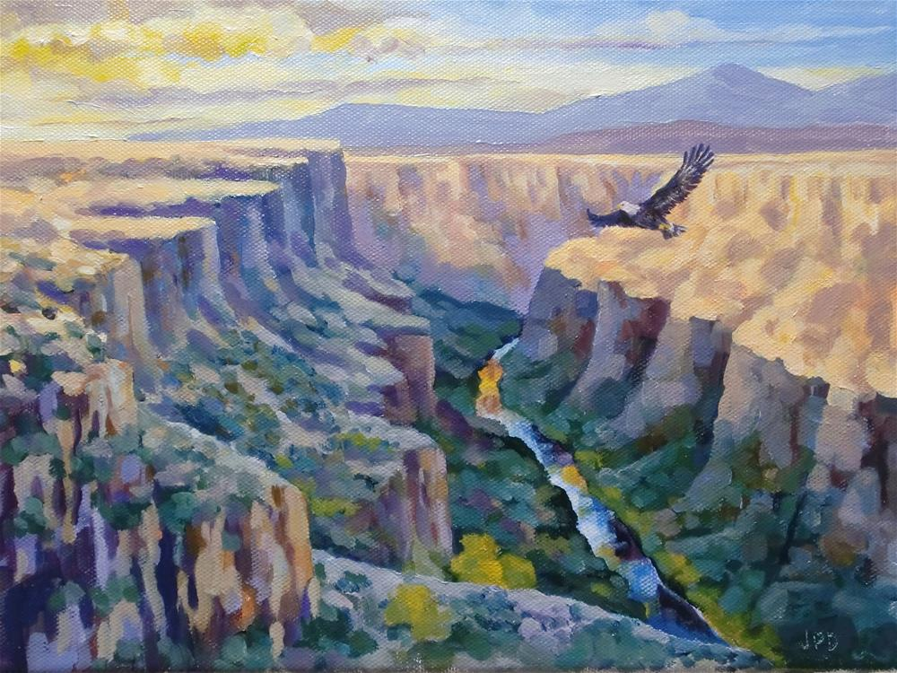 """Eagle over the Rio Grande Gorge"" original fine art by Jean Pierre DeBernay"