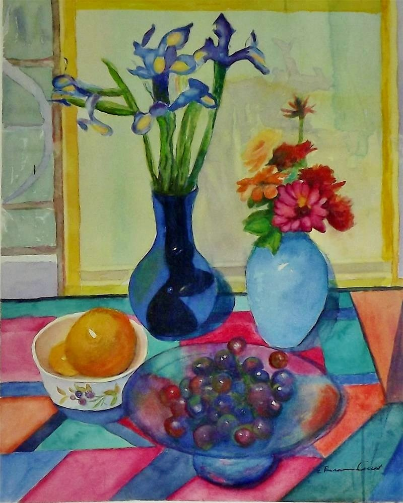 """Zinnia, grapes and flowers"" original fine art by Elizabeth Current"