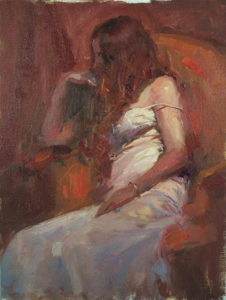 """Red Chair oil on linen, 12 x16"" original fine art by Emiliya Lane"