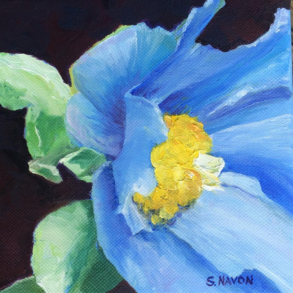 """Blue Flower"" original fine art by Stephanie Navon Jacobson"