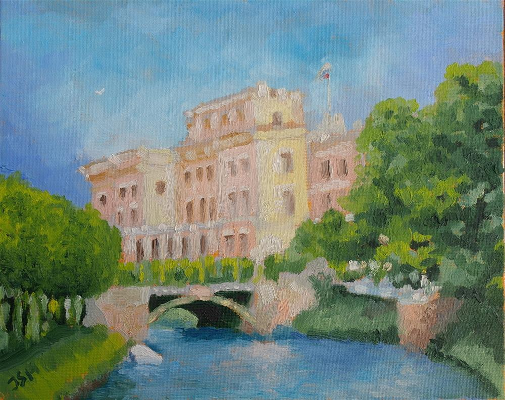 """Mikhailovskiy Castle in St.Petersburg"" original fine art by Yuriy Semyonov"