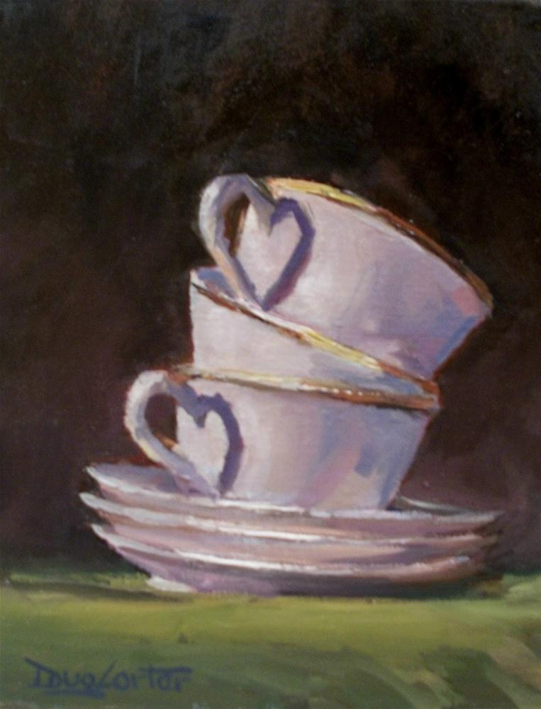 """TEA CUPS & HEARTS"" original fine art by Doug Carter"