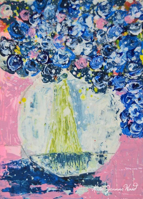 """Blue cottage chic roses painting No 174"" original fine art by Katie Jeanne Wood"