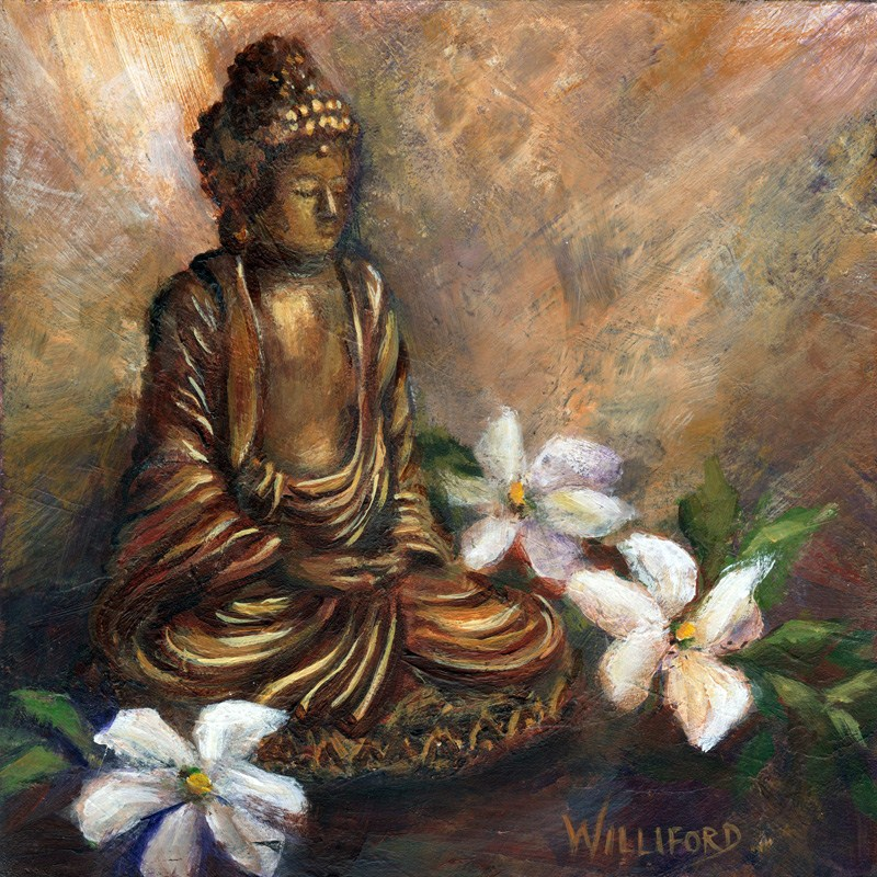 """Buddha with Flowers"" original fine art by Kathleen Williford"