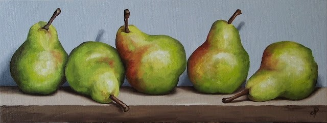 """5 Blush Williams Pears"" original fine art by Jane Palmer"