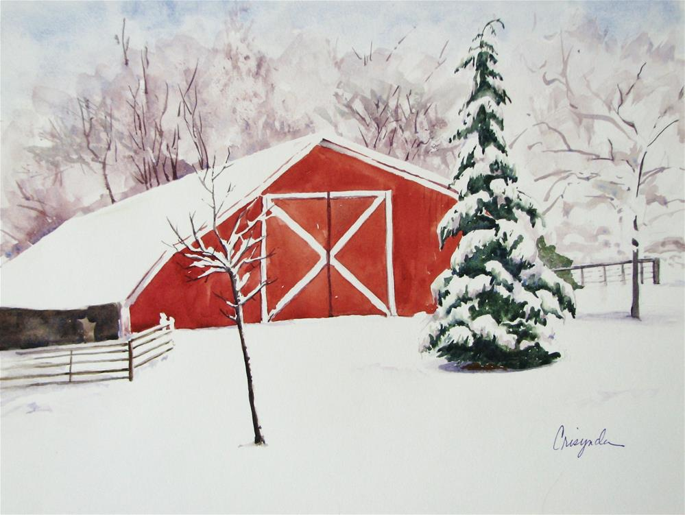 """The winter barn"" original fine art by Crisynda Buss"