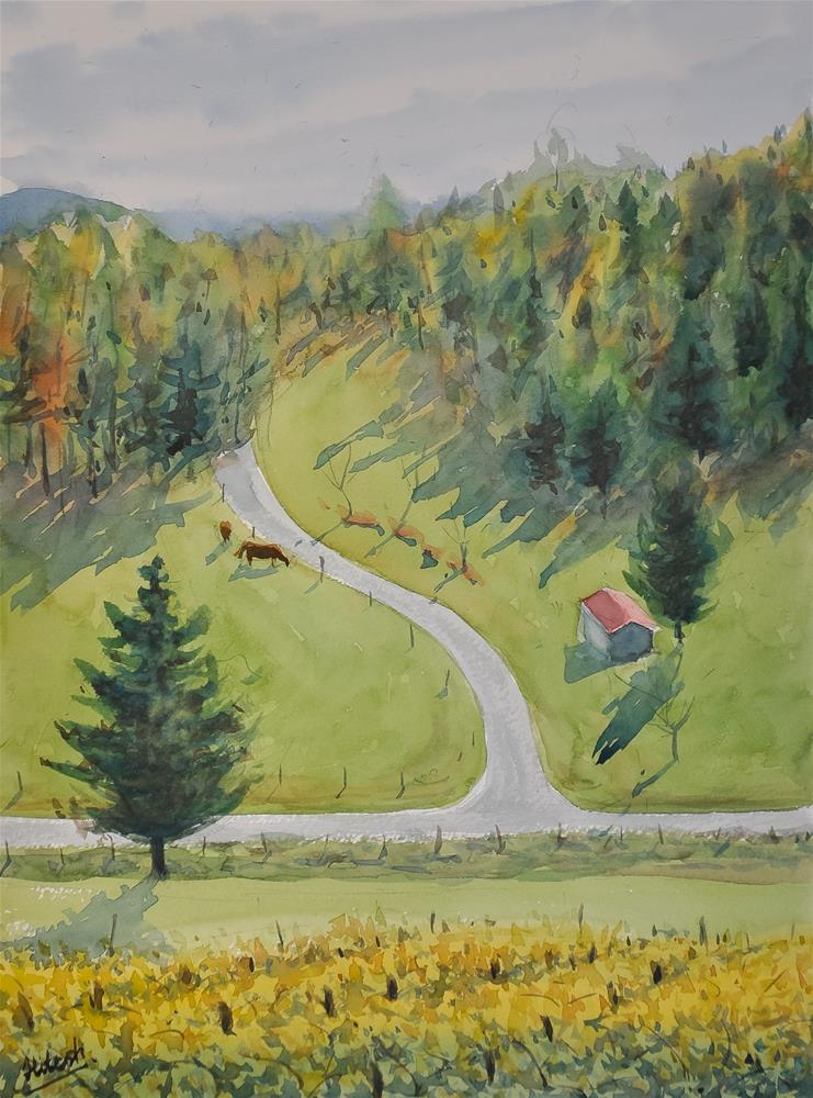 """Mountain Road"" original fine art by Tesh Parekh"