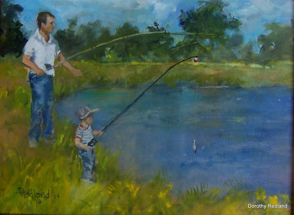 """Fishin with Dad"" original fine art by Dorothy Redland"