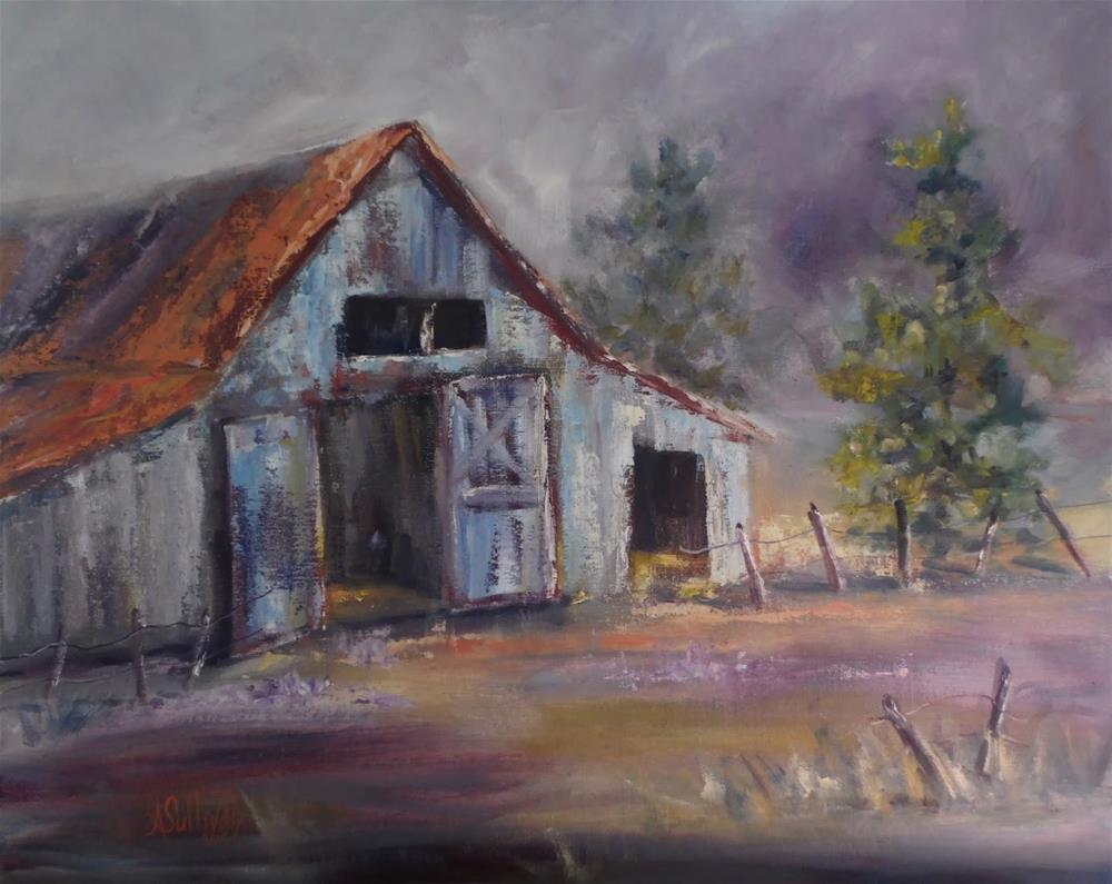 """A Place to Remember barn painting by Alabama Artist Angela Sullivan"" original fine art by Angela Sullivan"