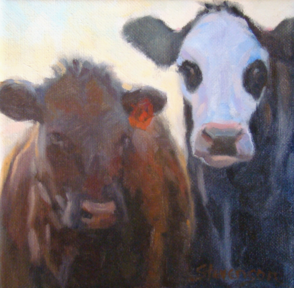 """Curious Cows"" original fine art by Trish Stevenson"