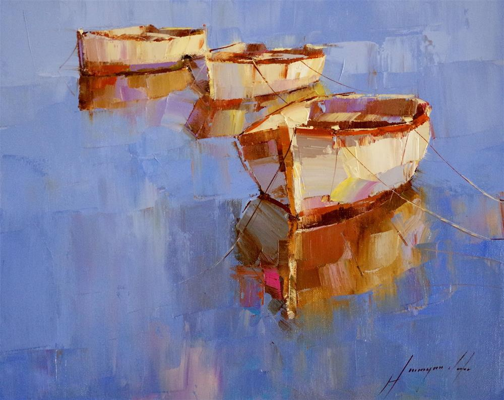"""Rowboats, Oil painting, impressionism, made by palette knife"" original fine art by V Yeremyan"