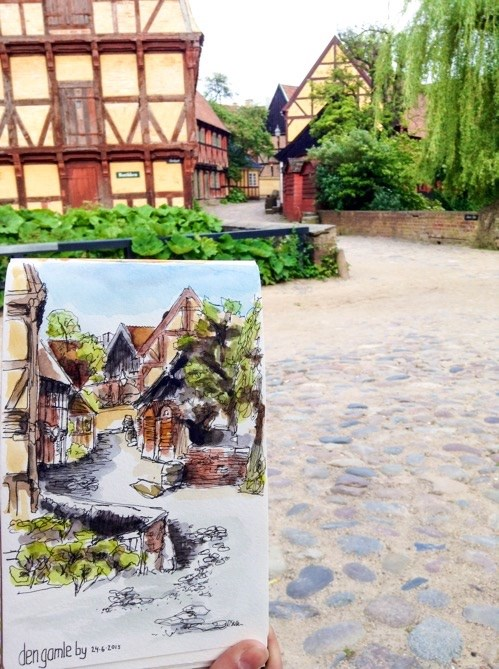 """1408 Den Gamle By"" original fine art by Dietmar Stiller"