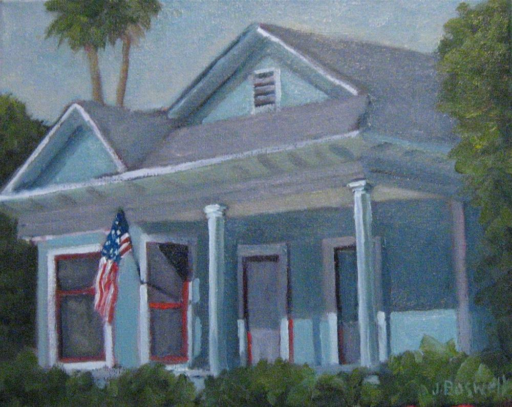 """Blue House with Flag"" original fine art by Jennifer Boswell"