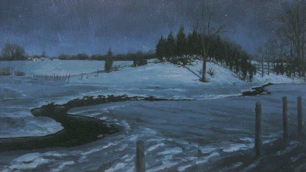 """""""Cedar Ridge Moonlight"""" original fine art by Danny O'Leary"""