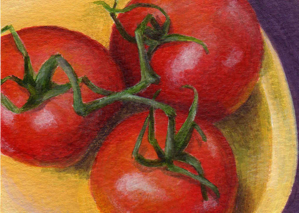 """Tomato Trio"" original fine art by Debbie Shirley"