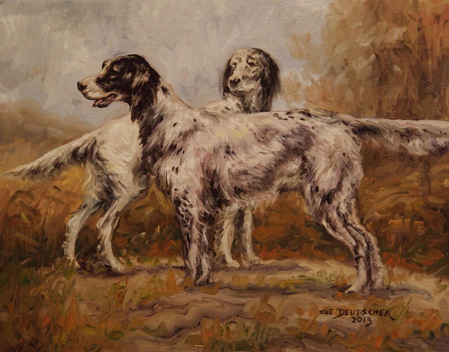 """English Setters"" original fine art by Sue Deutscher"