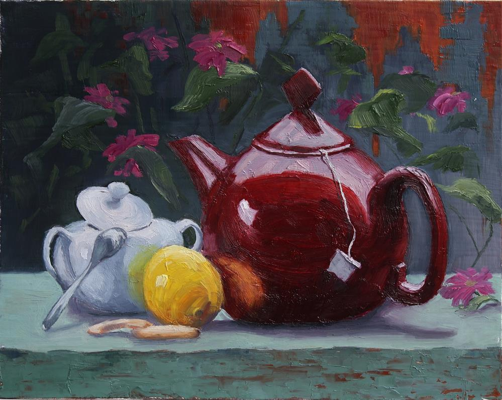 """Red Teapot"" original fine art by Sheila Marie"