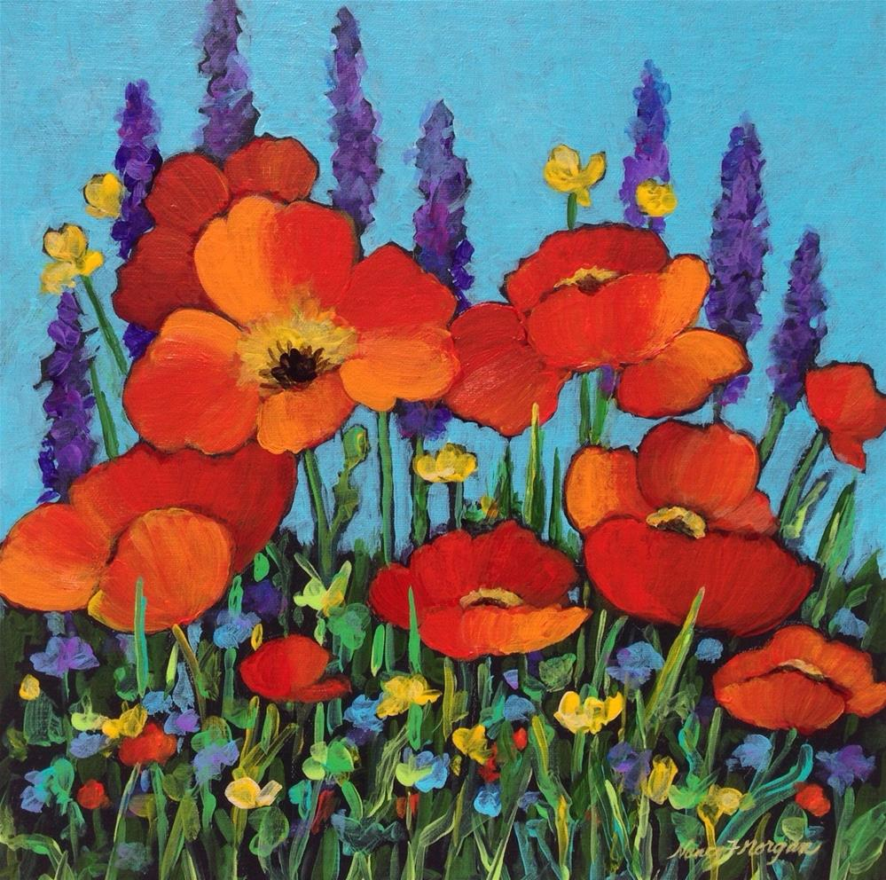 """Poppies and Friends"" original fine art by Nancy F. Morgan"
