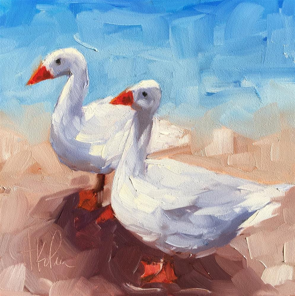 """White Geese"" original fine art by Hallie Kohn"