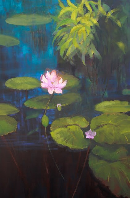 """Lily Pond, Fine Art Oil Painting MYSTERIOUS BEAUTY  by Colorado Artist Susan Fowler"" original fine art by Susan Fowler"