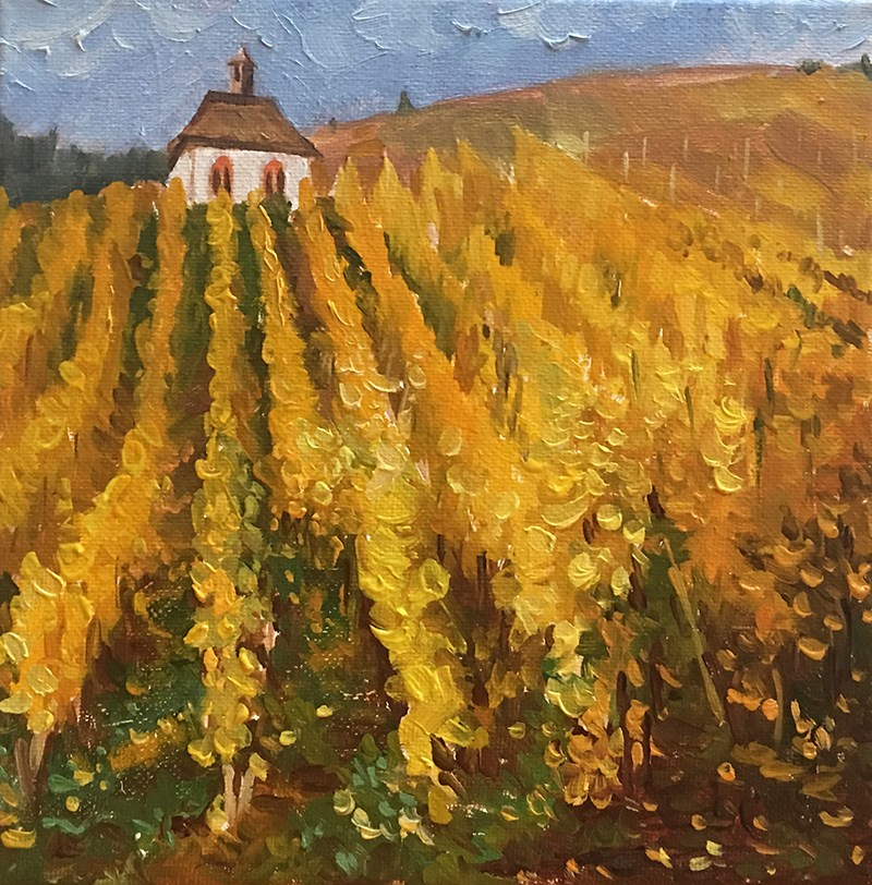"""Grape Field in Autumn"" original fine art by Ling Strube"