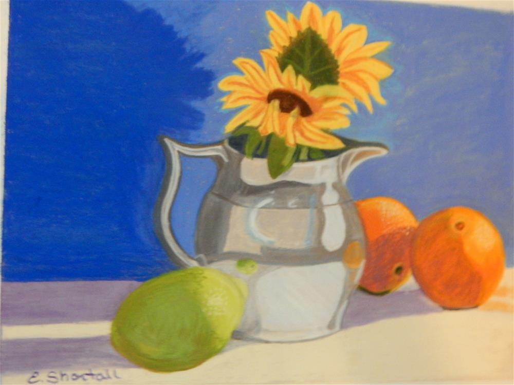 """""""Still Life with Pitcher and Citrus"""" original fine art by Elaine Shortall"""