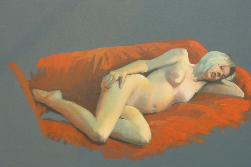 """Reclining nude"" original fine art by Peter Orrock"