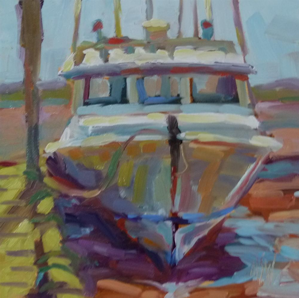 """On The Mud 6x6 oil on gesso board. The highest and lowest tides in the world are in the Bay of Fundy where I found this boat sitting on the red mud."" original fine art by Mary Sheehan Winn"